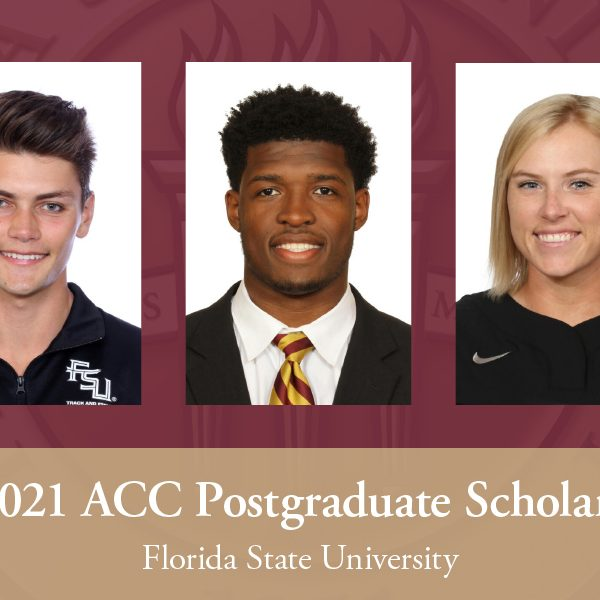 (From L to R) Four-time ACC hurdles champion Trey Cunningham, football defensive end Joshua Kaindoh and softball outfielder Dani Morgan