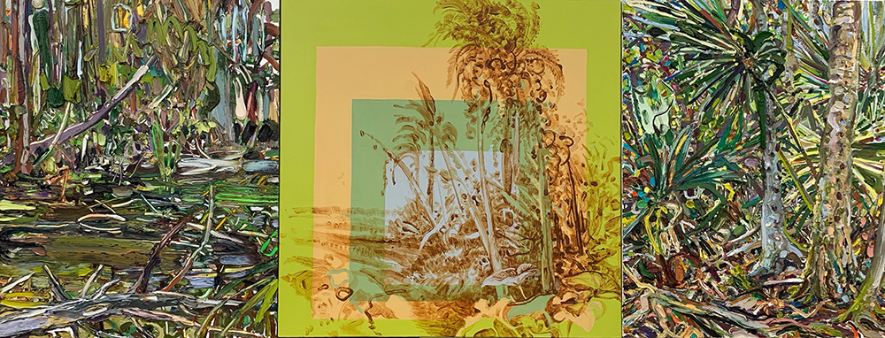"""""""Hyphenated Nature: Northern Florida-Cuba Painting Relations (after Carta)."""" 30"""" x 78,"""" oil on canvas (left & right) & acrylic with Cuban dirt pigment on canvas (middle) 2020."""