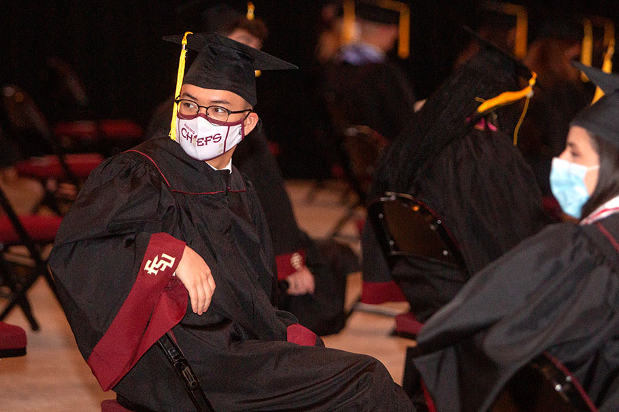 Graduates await FSU's first in-person commencement ceremony since December 2019 on Saturday, April 17, 2021, at the Donald L. Tucker Civic Center. (FSU Photography Services)