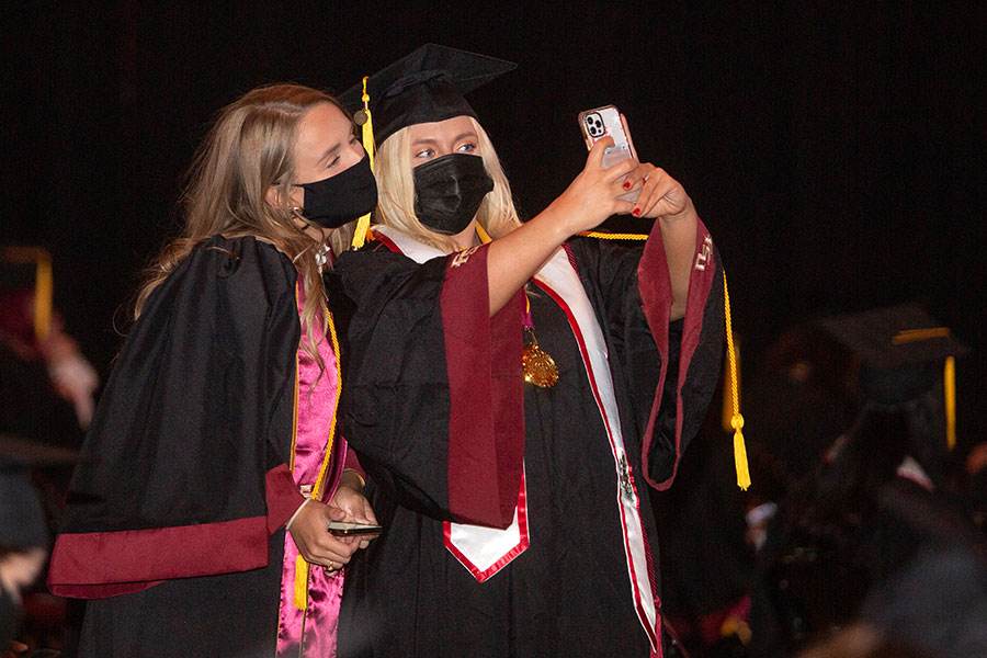 Graduates celebrate FSU's first in-person commencement ceremony since December 2019 on Saturday, April 17, 2021, at the Donald L. Tucker Civic Center. (FSU Photography Services)