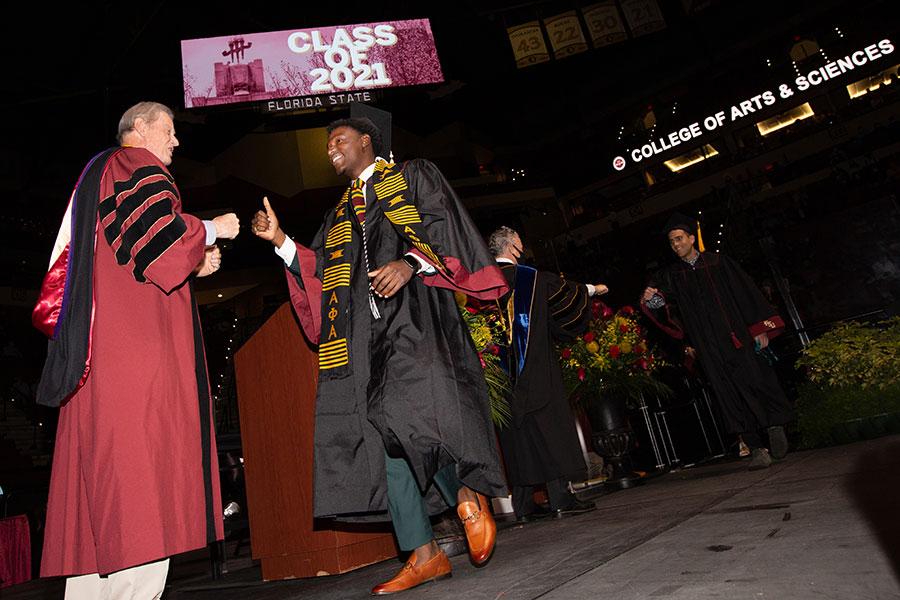 President John Thrasher congratulates graduates during spring commencement Saturday, April 17, 2021, at the Donald L. Tucker Civic Center. (FSU Photography Services)