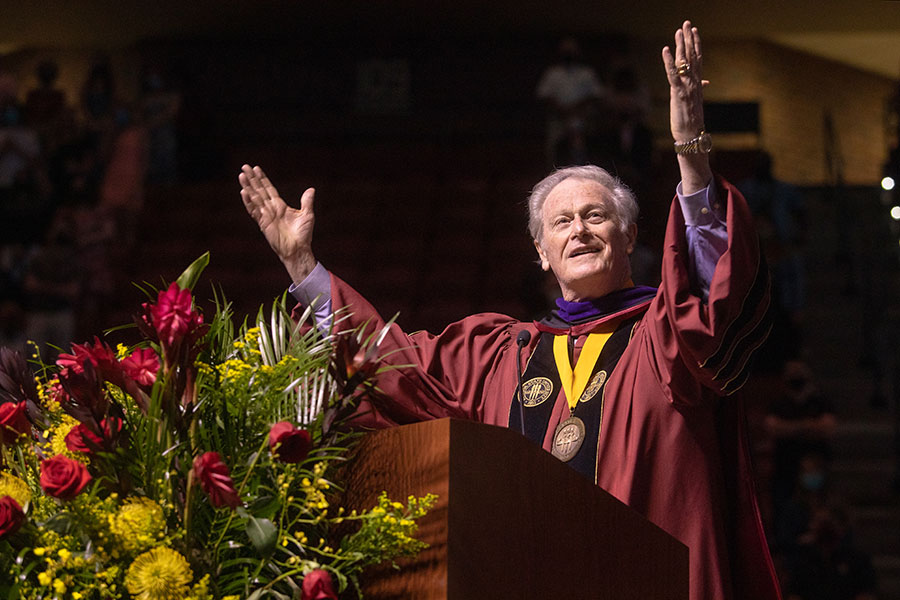 President John Thrasher welcomes graduates and their guests to spring commencement Saturday, April 17, 2021, at the Donald L. Tucker Civic Center. (FSU Photography Services)