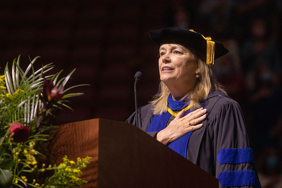 Vice President for Faculty Development and Advancement Janet Kistner leads the Pledge of Allegiance during FSU's first in-person commencement ceremony since December 2019 on Saturday, April 17, 2021, at the Donald L. Tucker Civic Center. (FSU Photography Services)