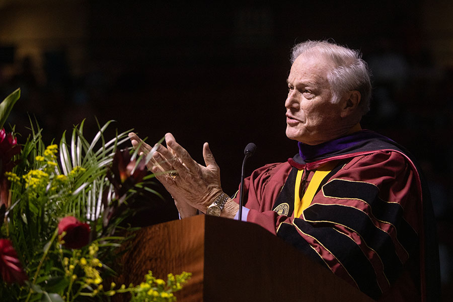 President John Thrasher delivers the commencement address to spring graduates Saturday, April 17, 2021, at the Donald L. Tucker Civic Center. (FSU Photography Services)
