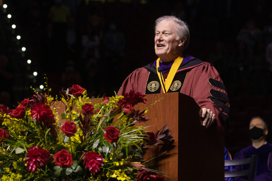 President John Thrasher delivers the commencement address during FSU Spring Commencement Friday, April 23, 2021. (FSU Photography Services)