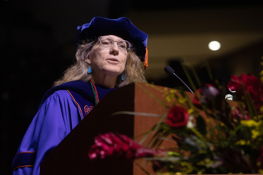 Associate Dean of the Graduate School Debra Fadool introduces the candidates for master's degrees FSU Spring Commencement Friday, April 23, 2021. (FSU Photography Services)