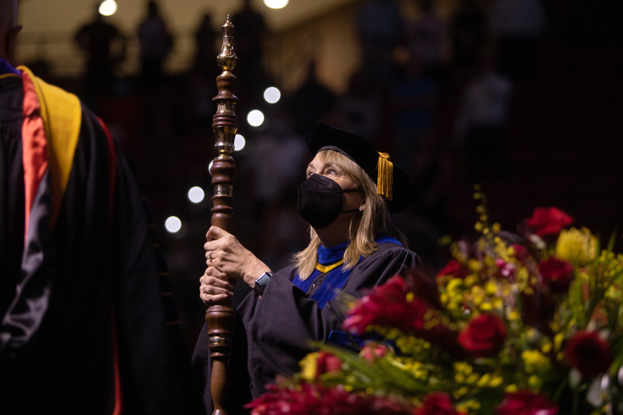 Vice President for Faculty Advancement and Development Janet Kistner leads the processional during FSU Spring Commencement Friday, April 23, 2021. (FSU Photography Services)
