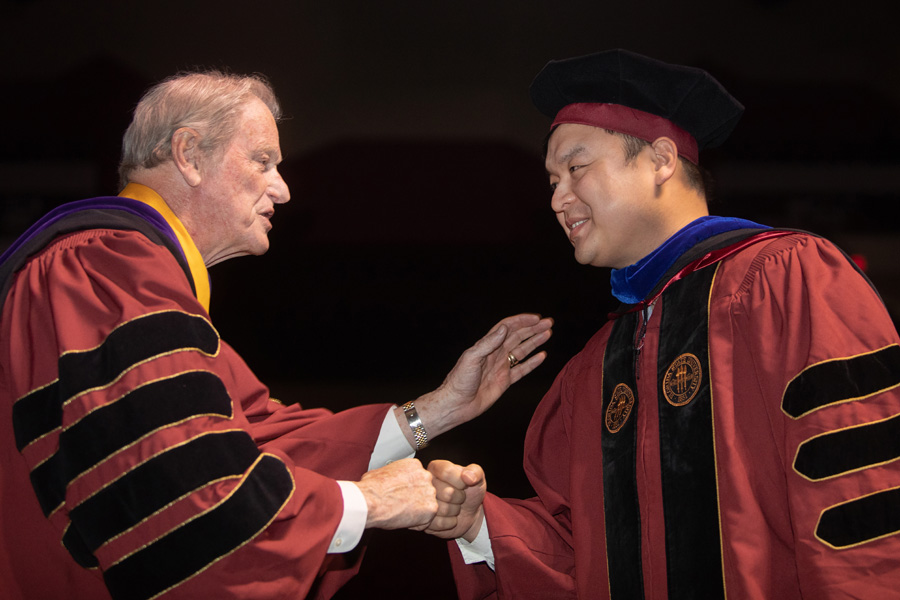 President Thrasher a Ph.D. graduate during FSU Spring Commencement Friday, April 23, 2021. (FSU Photography Services)