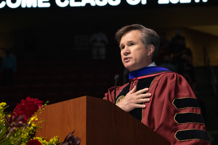 Associate Provost Rick Burnette leads graduates and their guests in the Pledge of Allegiance at FSU Spring Commencement Friday, April 23, 2021. (FSU Photography Services)