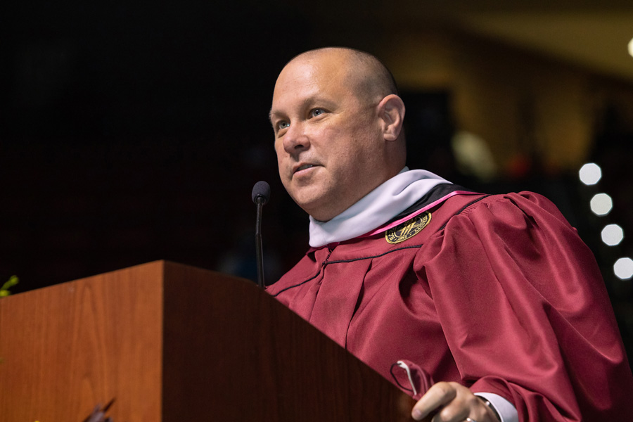 Associate Dean of the Graduate School Brian Barton introduces the candidates for master's degrees FSU Spring Commencement Friday, April 23, 2021. (FSU Photography Services)