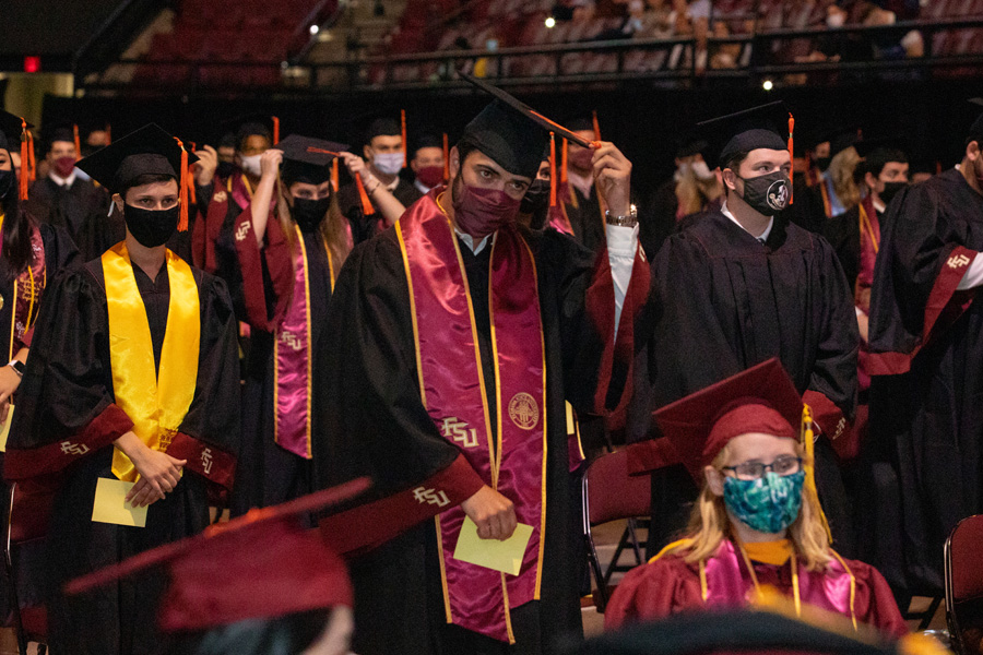 Graduates turn their tassels during FSU Spring Commencement Friday, April 23, 2021. (FSU Photography Services)