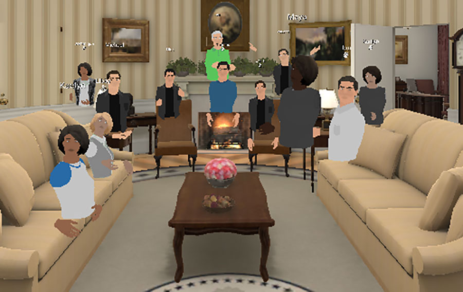 The EngageVR platform offers different virtual settings and experiences, such as sailing a ship off the coast of Africa or exploring the grasslands of central Florida. In this photo, the class stopped by the Oval Office for a group photo of their avatars. (Andy Opel)