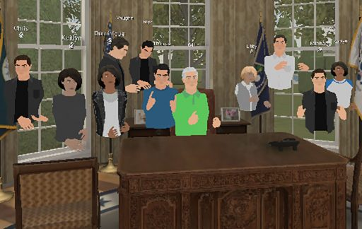 Students in Professor Andy Opel's Immersive Media Production class were issued Oculus Quest 2 headsets this semester and used virtual reality (VR) to to simulate a classroom space. Using the EngageVR platform, students were able to create virtual avatars and travel to different VR environments, like the Oval Office. (Andy Opel)