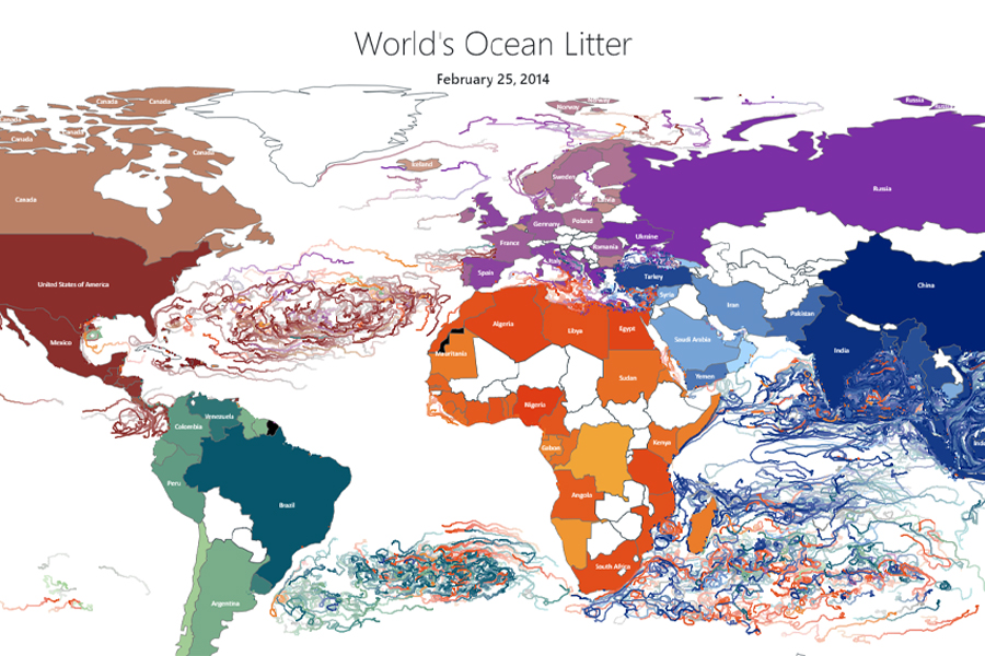 A screenshot from a virtual tool developed by the Center for Ocean-Atmospheric Prediction Studies to track marine litter. The colored lines show the path of debris in the ocean. from a virtual tool developed by the Center for Ocean-Atmospheric Prediction Studies to track marine litter.