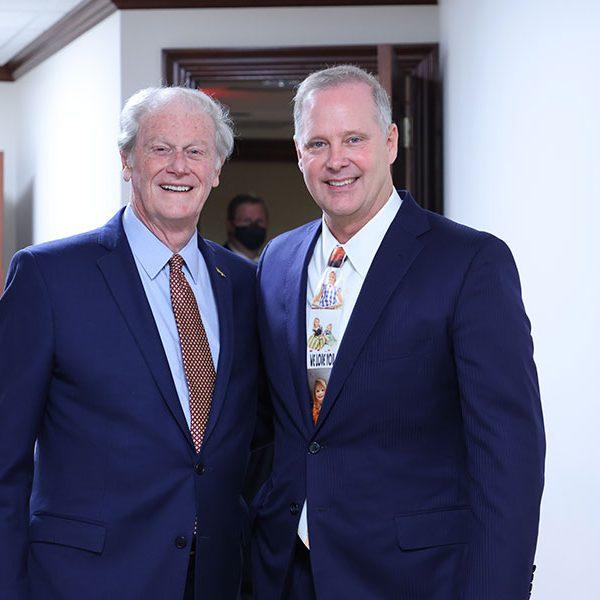 President John Thrasher and Senate President Wilton Simpson before a session of the Florida Senate April 27, 2021. (Photo courtesy Florida Senate)