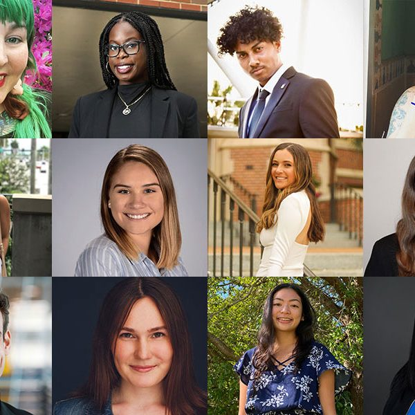 "The 2021 Humanitarian of the Year Award nominees. Top row, left to right: Taylor Biro, Jordan Fleurigene, Jordan Chung and Audrey Guoan. Middle row, left to right: Sofia Higgins, Jaya Smith, Marjorie ""Maggie"" Fitzsimmons and Kayla Pfeffer. Bottom row, left to right: Charles Brenner, Elizabeth ""Beth"" Slade, Micah Castillo and Alana Rigby. (The Center for Leadership & Social Change)"