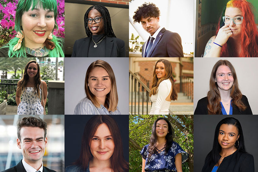 """The 2021 Humanitarian of the Year Award nominees. Top row, left to right: Taylor Biro, Jordan Fleurigene, Jordan Chung and Audrey Guoan. Middle row, left to right: Sofia Higgins, Jaya Smith, Marjorie """"Maggie"""" Fitzsimmons and Kayla Pfeffer. Bottom row, left to right: Charles Brenner, Elizabeth """"Beth"""" Slade, Micah Castillo and Alana Rigby. (The Center for Leadership & Social Change)"""