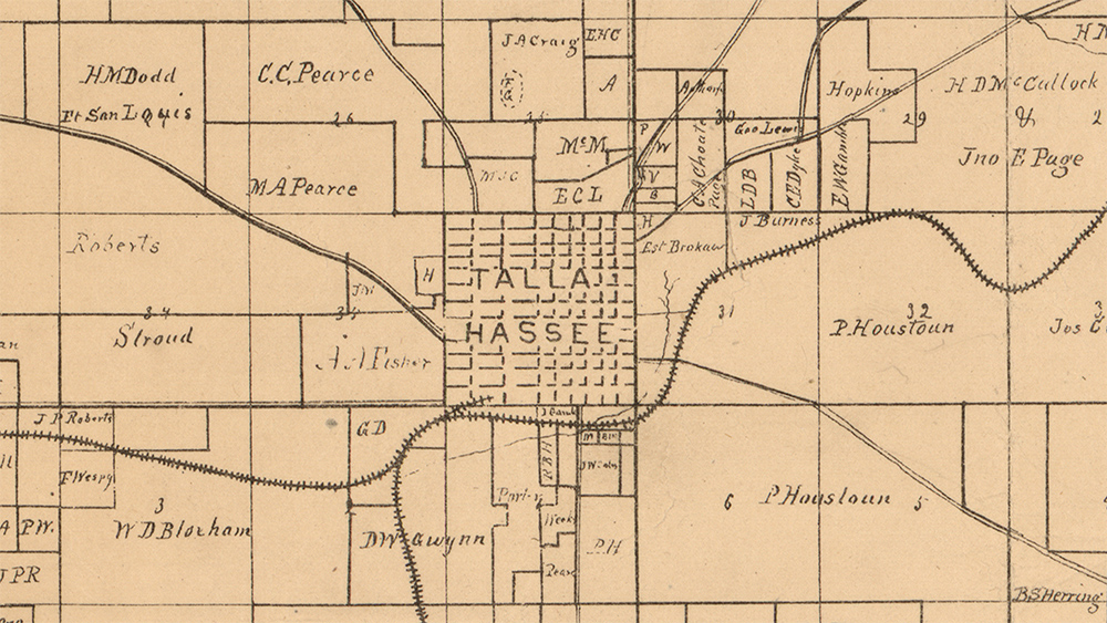 Archival map (1883) of Leon County, zoomed in on Tallahassee. (Library of Congress)
