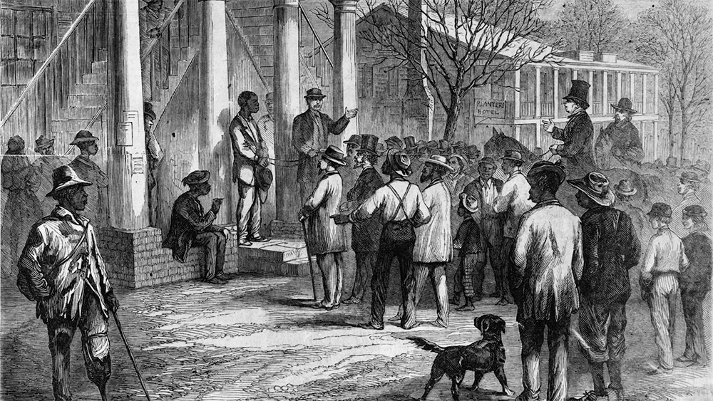 Summary: Archival engraving (1867) of the sale of a freedman to pay his fine at Monticello, Florida (from a sketch by Jas. E. Taylor). (Photo courtesy of Library of Congress)