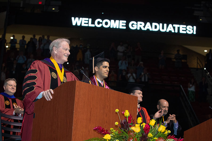 President John Thrasher welcomes graduates and guests to a special in-person commencement ceremony for 2020 graduates Saturday, May 22, 2021, at the Donald L. Tucker Civic Center. (FSU Photography Services)