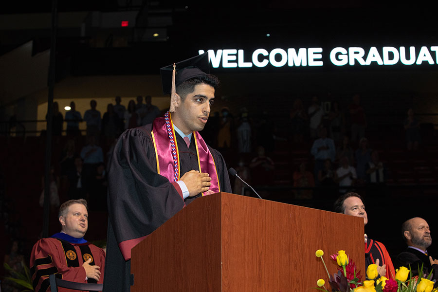 Graduates and guests are led in the Pledge of Allegiance during a special in-person commencement ceremony for 2020 graduates Saturday, May 22, 2021, at the Donald L. Tucker Civic Center. (FSU Photography Services)