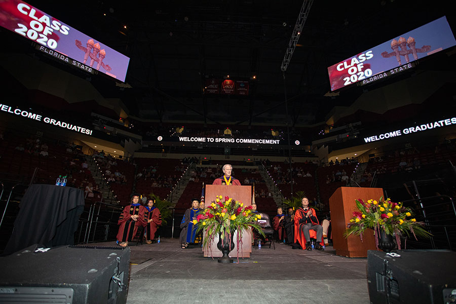 President John Thrasher speaks during a special in-person commencement ceremony for 2020 graduates Saturday, May 22, 2021, at the Donald L. Tucker Civic Center. (FSU Photography Services)