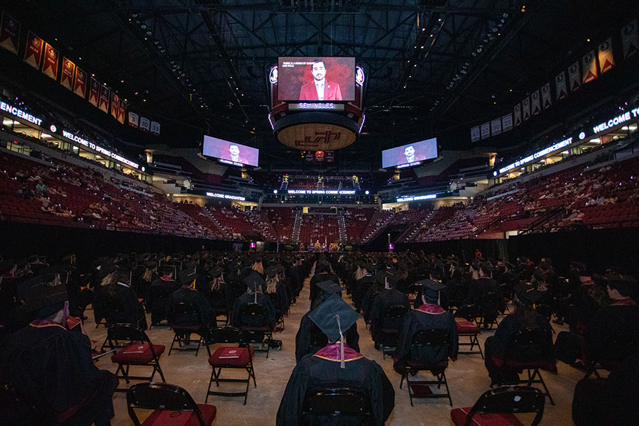 Florida State University 2020 graduates return to celebrate in-person commencement Saturday, May 22, 2021, at the Donald L. Tucker Civic Center. (FSU Photography Services)