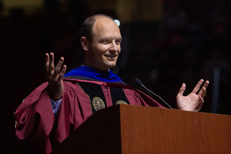 Dean of Undergraduate Studies Joe O'Shea confers FSU's undergraduate degrees during a special commencement ceremony for 2020 graduates Saturday, May 22, 2021, at the Donald L. Tucker Civic Center. (FSU Photography Services)