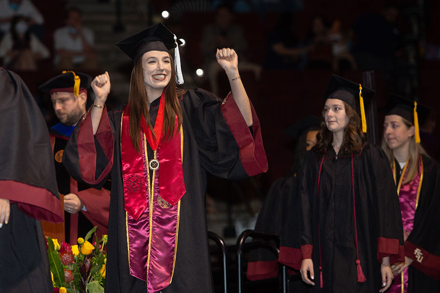 Florida State University 2020 graduates get their moment to walk across the stage during a special in-person commencement ceremony Saturday, May 22, 2021, at the Donald L. Tucker Civic Center. (FSU Photography Services)
