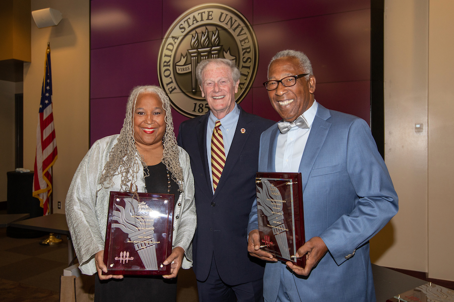 Doby and Fred Flowers were trailblazers at FSU with Doby being the first African American homecoming queen and Fred the first African American member of FSU's baseball team. Both have maintained their involvement with FSU since graduating.