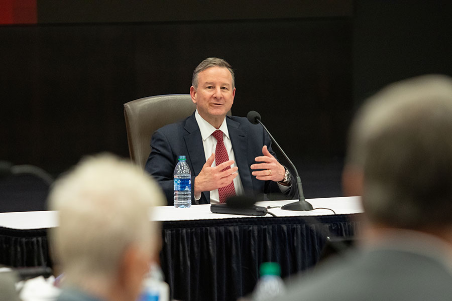 Richard McCullough speaks during the FSU Board of Trustees meeting on the morning of his selection as the university's 16th president Monday, May 24, 2021, at the Turnbull Center. (FSU Photography Services)