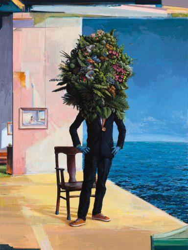 """Ethan Murrow, Awaiting, high-flow acrylic on board, 48""""x36"""", 2020"""