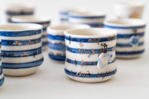 Detail of striped cup from Hurricane Art Kit