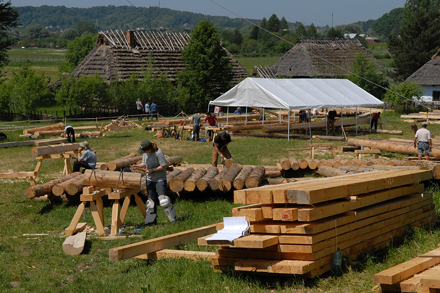Students and professional timber-framers working together on the Gwozdziec synagogue reconstruction in Sanok, Poland