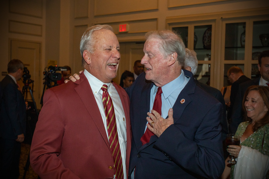 BOT Chair Ed Burr with President Thrasher during a celebration of President John Thrasher and FSU First Lady Jean Thrasher June 16, 2021, at the University Center Club. (FSU Photography Services)