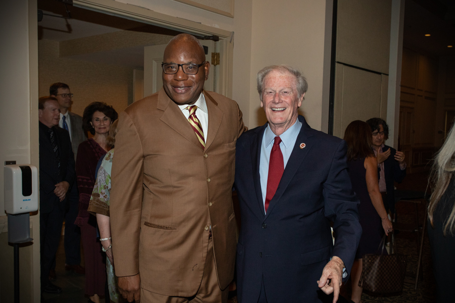Rev. R.B. Holmes with President Thrasher during a celebration of President John Thrasher and FSU First Lady Jean Thrasher June 16, 2021, at the University Center Club. (FSU Photography Services)