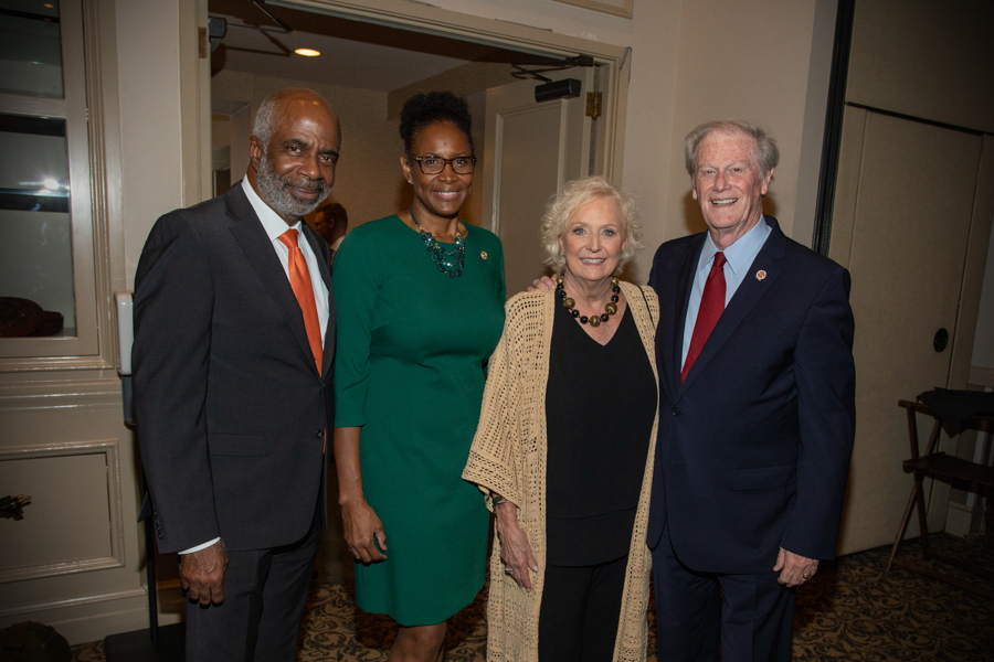 Florida A&M University President Larry Robinson and FAMU First Lady Sharon Robinson with President John Thrasher and FSU First Lady Jean Thrasher during a June 16 reception at the University Center Club. (FSU Photography Services)