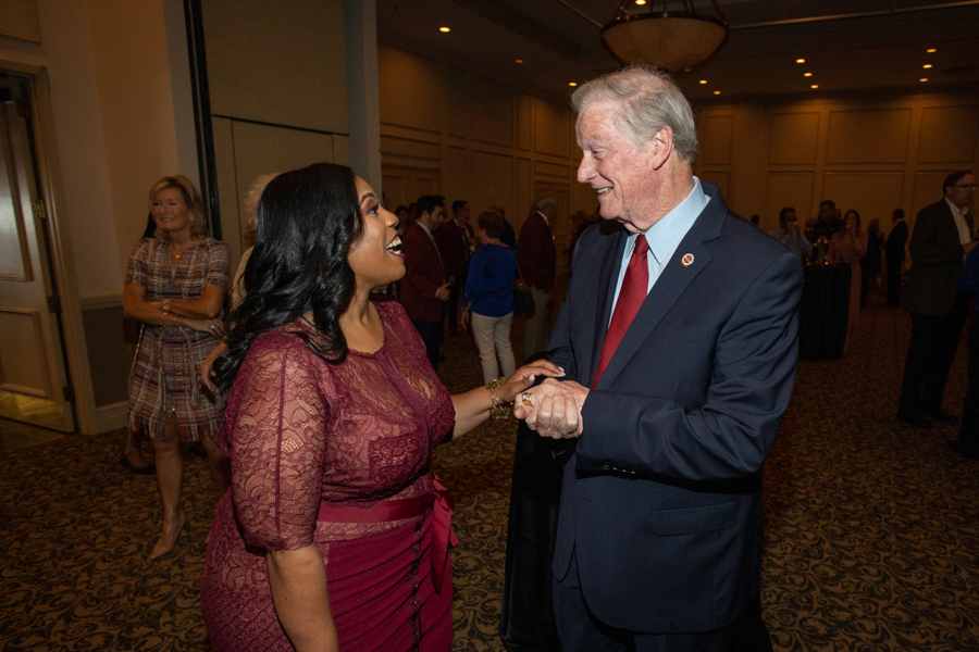 Associate Vice President for Finance and Administration Renisha Gibbs with President Thrasher during a celebration of President John Thrasher and FSU First Lady Jean Thrasher June 16, 2021, at the University Center Club. (FSU Photography Services)