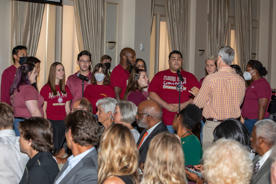 The University Singers perform at a celebration of President John Thrasher and FSU First Lady Jean Thrasher June 16, 2021, at the University Center Club. (FSU Photography Services)