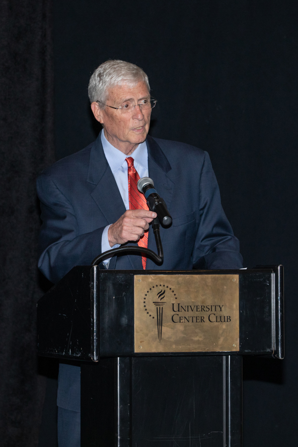 Former BOT Chair Allan Bense speaks during a celebration of President John Thrasher and FSU First Lady Jean Thrasher June 16, 2021, at the University Center Club. (FSU Photography Services)