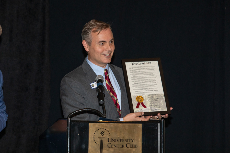 Leon County Commissioner Rick Minor speaks during a celebration of President John Thrasher and FSU First Lady Jean Thrasher June 16, 2021, at the University Center Club. (FSU Photography Services)
