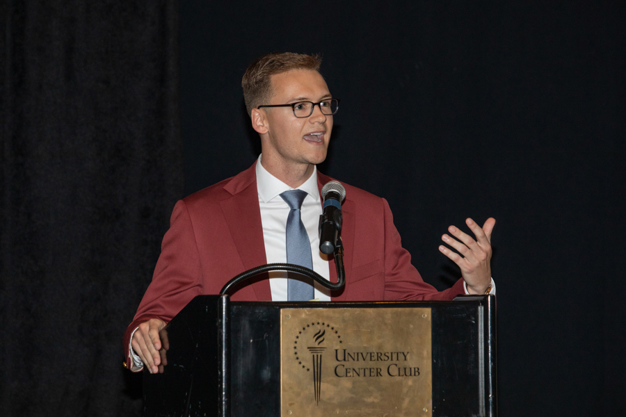 Former Student Body President Kyle Hill speaks during a celebration of President John Thrasher and FSU First Lady Jean Thrasher June 16, 2021, at the University Center Club. (FSU Photography Services)