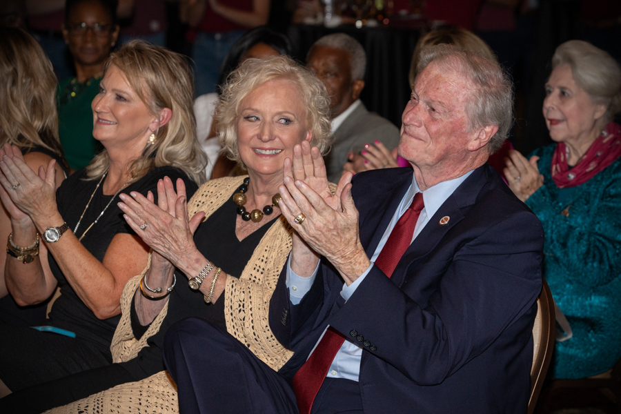 The Florida State University Board of Trustees and special guests celebrated the legacy of President John Thrasher and FSU First Lady Jean Thrasher during a June 16 reception at the University Center Club. (FSU Photography Services)