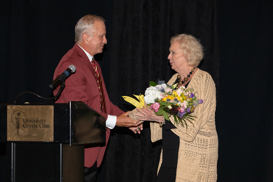 Chair Burr honors Mrs. Thrasher during a celebration of President John Thrasher and FSU First Lady Jean Thrasher June 16, 2021, at the University Center Club. (FSU Photography Services)