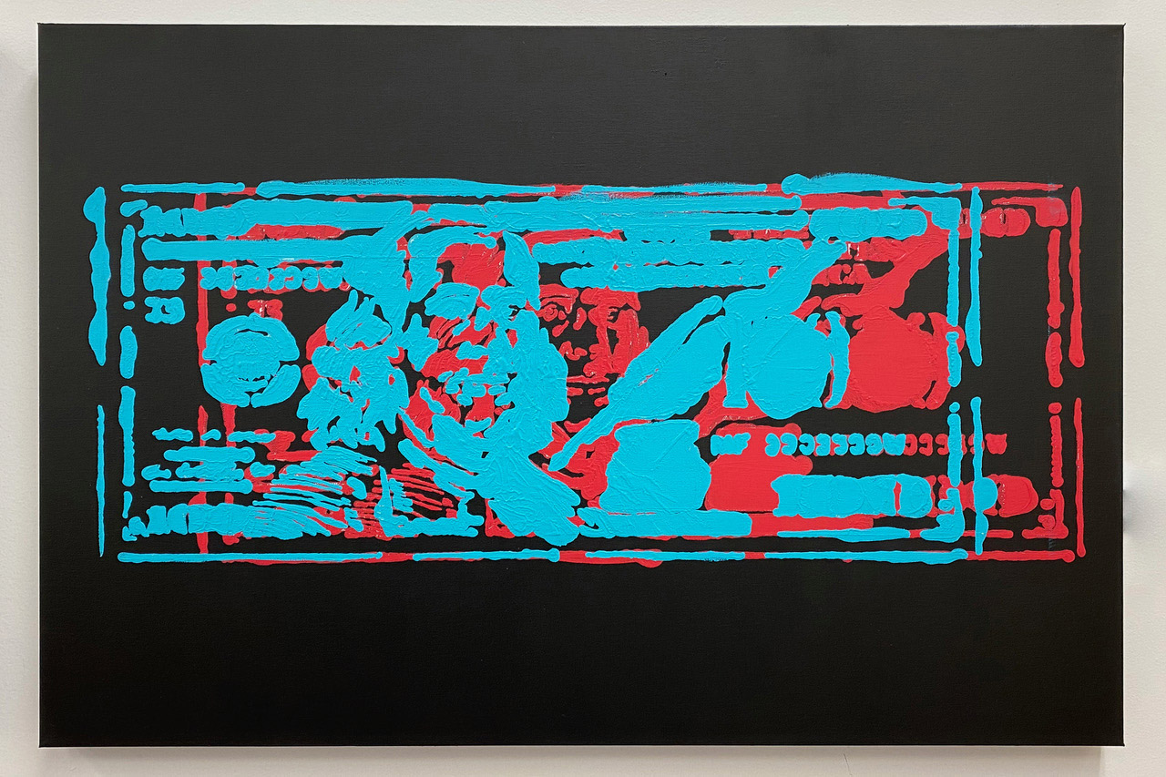 """Hundo-Black."" 2020. Acrylic on Canvas. 24"" x 36"""