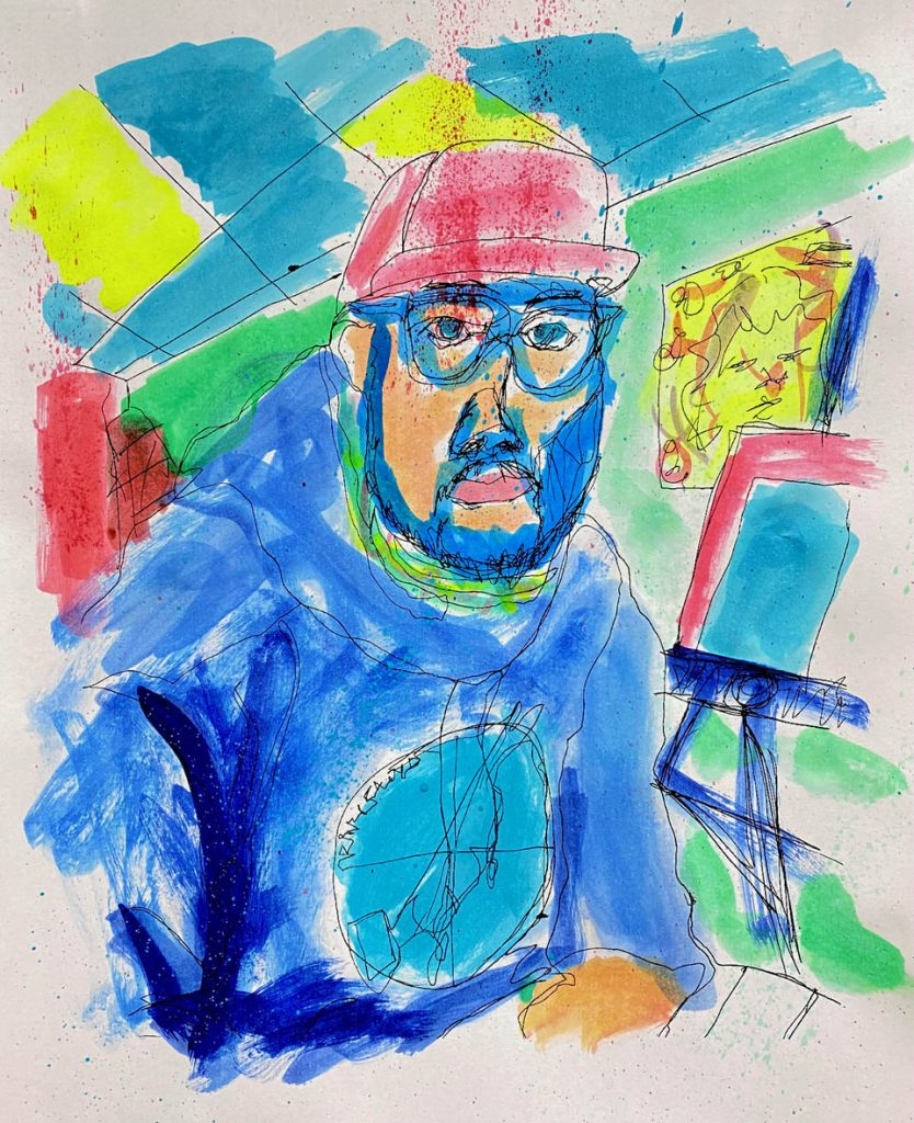 """""""Self Portrait."""" 2021. Acrylic and Ink Jet on Paper. 11"""" x 8.5"""""""