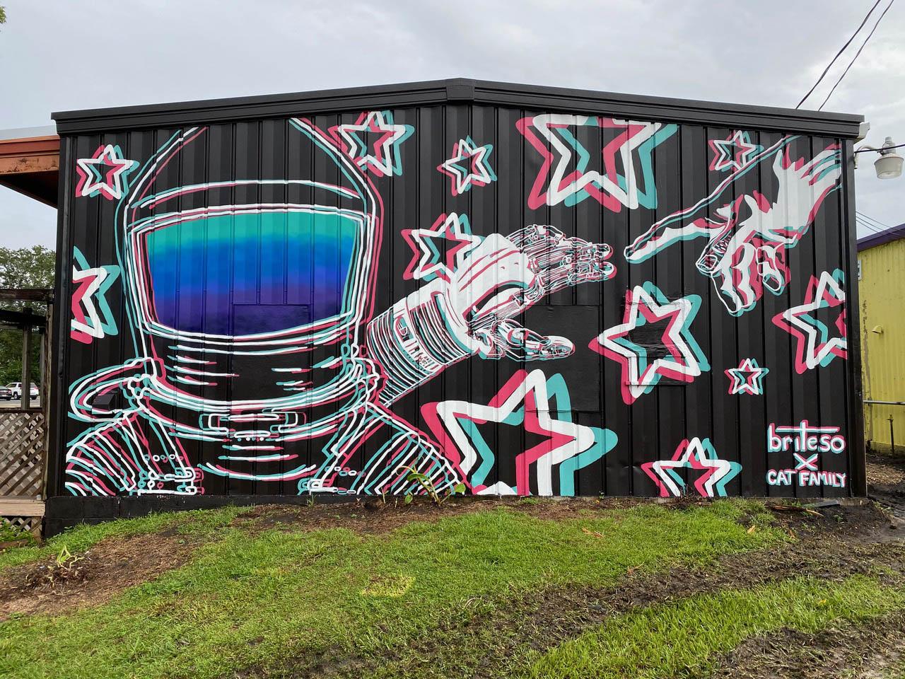"""Spaceman."" 2020. Mural located at Railroad Square Art Park"