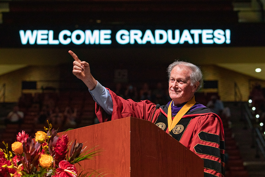 President John Thrasher welcomes graduates and guests to the summer commencement ceremony Friday, July 30, 2021, at the Donald L. Tucker Civic Center. (FSU Photography Services)