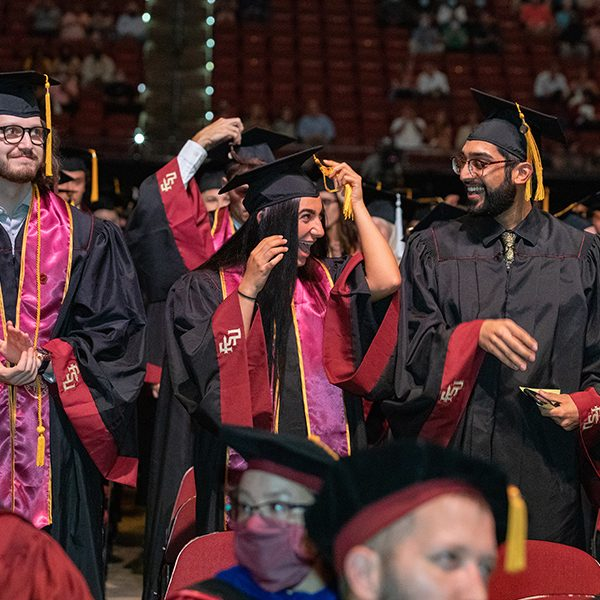 Students celebrate at the summer commencement ceremony Friday, July 30, 2021, at the Donald L. Tucker Civic Center. (FSU Photography Services)