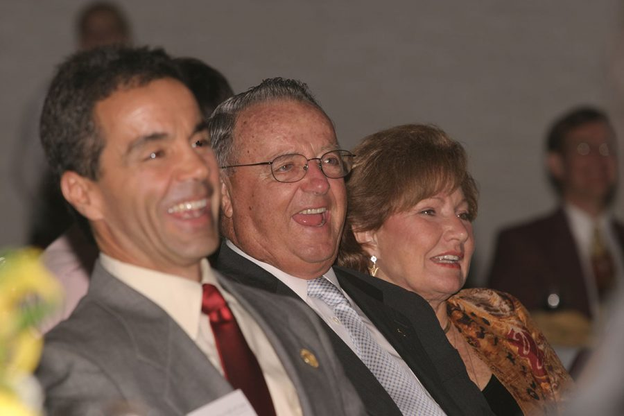 Coach Bobby Bowden with his wife, Ann, and Monk Bonasorte, who served as Director of Football Operations under Bowden, in 2005. (FSU Photography Services)
